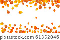 Seamless autumn leaves horizontal banner isolated on white background. Advertising template with golden autumn leaf. Fall season colors pattern. Autumnal nature foliage wallpaper frame. Vector 61352046