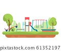 Kids playground with playing equipment in park. Outdoor public city kindergarten isolated on white background. Vector 61352197