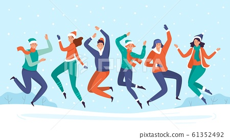 People jump in snow. Group of friends enjoy snowfall, happy winter holidays and snow vacation vector illustration 61352492