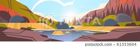 lake in front of mountain range sunset forest landscape beautiful nature background horizontal 61353604