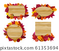 Wooden signs with autumn leaves. Yellow fall leaf, seasonal wood banner vector illustration set 61353694
