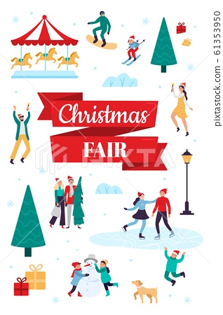 Christmas fair. Winter holiday poster, snow festival and xmas celebration vector illustration 61353950