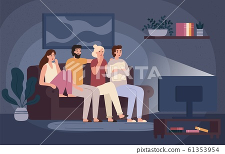 Friends watching horror movie together. Scared teens sitting on sofa and watch scary movie in dark living room vector illustration 61353954