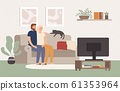 Young couple watch tv together. Happy man and woman sitting on couch and watching television show. Movie night vector illustration 61353964