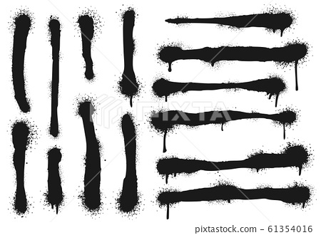Spray painted lines with paint drips. Graffiti paint, splatter drawing strokes and dirty street art vector illustration set 61354016