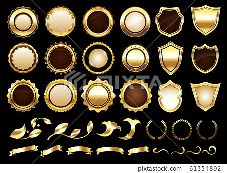 Elegant golden labels. Shields badges, gold ornamental scrolls amd retro label vector illustration set 61354892