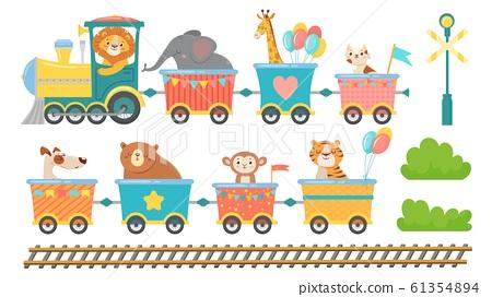 Cute animals on train. Happy animal in railroad car, little pets ride on toy locomotive cartoon vector illustration set 61354894