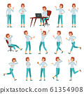 Cartoon woman in casual outfit. Young female character actions poses, walking happy woman and women lifestyle vector illustration set 61354908