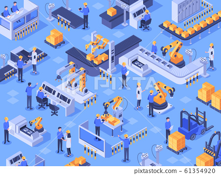 Isometric smart industrial factory. Automated production line, automation industry and factories engineer workers vector illustration 61354920