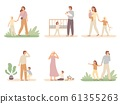 Parenthood problems. Crying child and tired parents, exhausted dad and kids want attention from mother vector illustration set 61355263