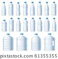 Plastic bottles. Water cooler bottle, PET package for liquids and soda drink beverage vector illustration set 61355355