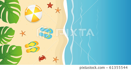 summer holiday on the beach background top view with palm leaves 61355544
