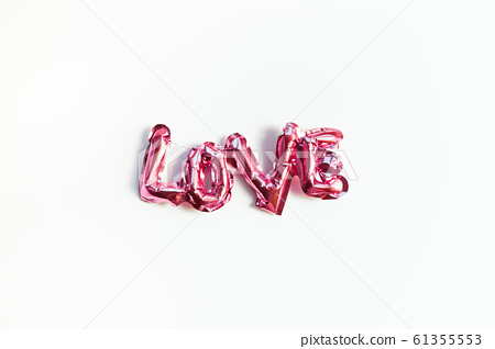 Love concept. Inflatable pink balloon with letters 61355553