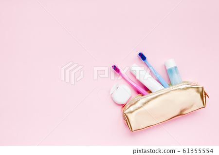 Teeth hygiene and oral care products flatlay 61355554