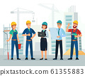 Construction team. Engineering and constructions workers, building engineers group and technicians people cartoon vector illustration 61355883
