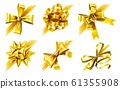 Decorative corner bow. Golden favor ribbon, yellow angle bows and luxury gold ribbons realistic 3D vector illustration set 61355908