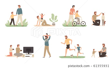 Father and son. Dad raising young boy, parenting child and fathers love concept vector illustration set 61355931