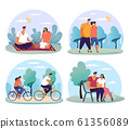 Couple at date, man and woman having bicycle ride 61356089