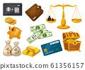 Business, money, deposit dollar, gold icons 61356157