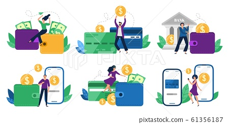 Money transfers. People sent money from wallet to bank card, mobile payments and financial transactions vector illustration set 61356187