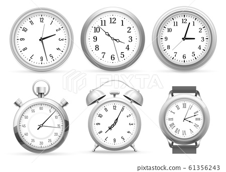 Realistic clocks. Wall round clock, alarm and wristwatches. Stopwatch timer, time watch vector 3D illustration set 61356243