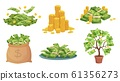 Cartoon cash. Green dollar banknotes pile, rich gold coins and pay. Cash bag, tray with stacks of bills and money tree vector illustration set 61356273