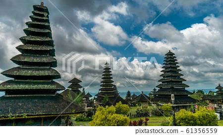 Roofs in Pura Besakih Temple in Bali Island, Indonesia 61356559