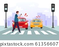 Crosswalk accident. Pedestrian with smartphone and headphones crossing road on red traffic lights, road safety vector illustration 61356607