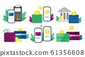 Money transactions. Cash transfers, mobile payments using smartphone and credit card transfer vector illustration set 61356608