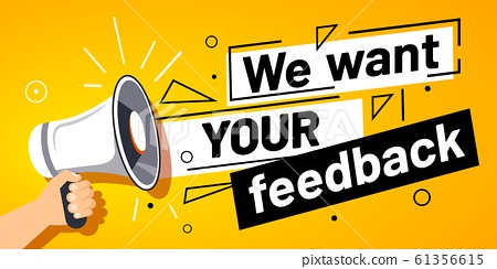 We want your feedback. Customer feedbacks survey opinion service, megaphone in hand promotion banner vector illustration 61356615