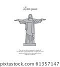 Statue of Christ the Redeemer in Rio de Janeiro color vector icon, sign, symbol 61357147