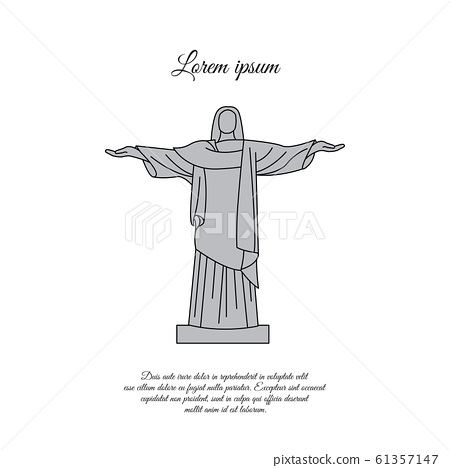 Statue of Christ the Redeemer in Rio de Janeiro color vector icon, sign, symbol 61357147