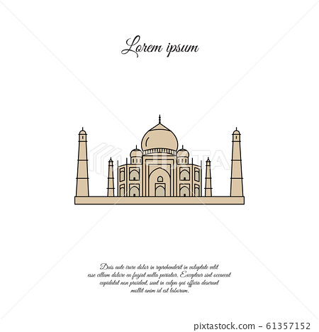 Taj Mahal color vector icon, sign, symbol 61357152