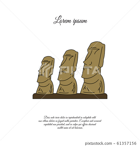 Statues of Moai on Easter Island color vector icon, sign, symbol 61357156