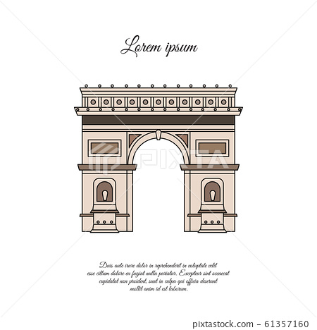 Arc de Triomphe in Paris vector color icon, sign, symbol 61357160