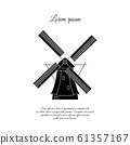 Windmill in Holland vector icon, sign, symbol 61357167