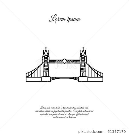 London Bridge vector line, linear icon, sign, symbol 61357170
