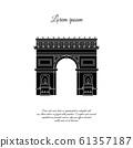 Arc de Triomphe in Paris vector icon, sign, symbol 61357187