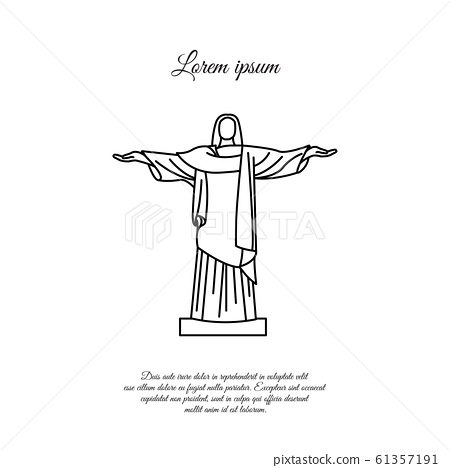 Statue of Christ the Redeemer in Rio de Janeiro vector line icon, sign, symbol 61357191