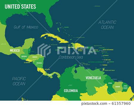 Central America map - green hue colored on dark background. High detailed political map Central American and Caribbean region with country, capital, ocean and sea names labeling 61357960