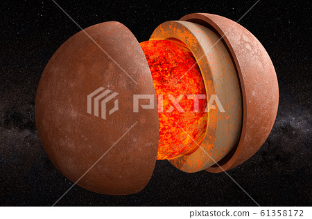Structure of planet Mercury in space, 3D rendering 61358172