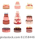 Bday sweet baked isolated cakes set. Strawberry icing cake for holiday, cupcake, baked brown chocolate cake gourmet, colorful celebration cherry cake bakery. Birthday cake with candles and fruits 61358446