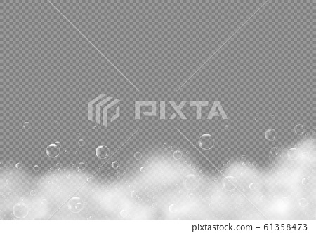Bath shampoo foam with bubbles isolated on transparent background. Vector illustration white soap water 61358473