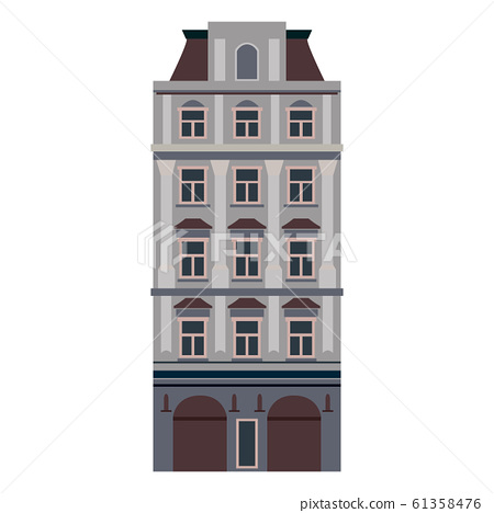 Cartoon classic flat colorful building facade on white background. Architecture icon highly detailed city front view abstract house. Skyscraper construction. Vector illustration 61358476