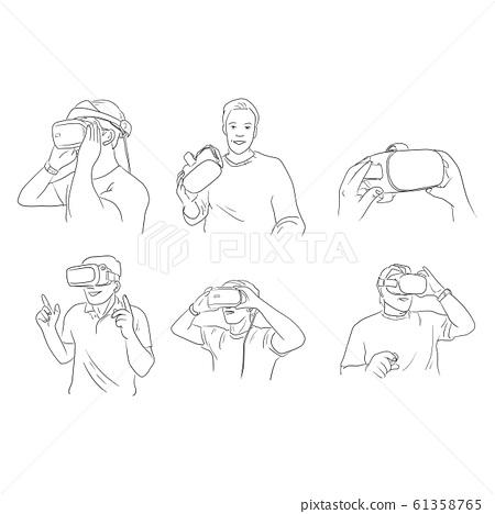 set of man wearing virtual reality digital glasses 61358765