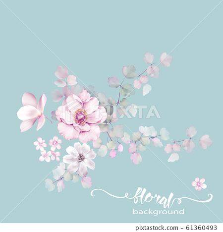 清雅美麗的水彩花卉素材圖案 61360493