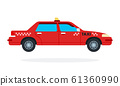 Red urban taxi vector flat isolated 61360990