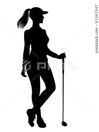 골프의 실루엣 여자 골퍼 포즈 02 61362847