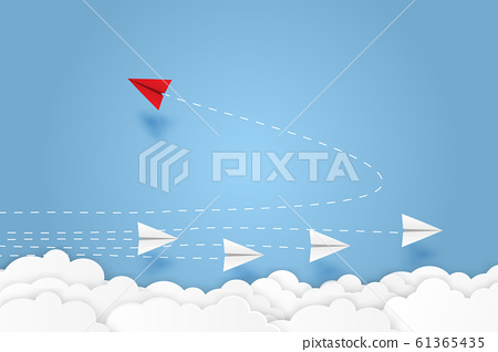 Red paper plane changing direction new idea different business concept paper art cut style vector illustration. 61365435