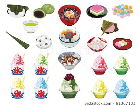 甜品店的食物插圖(Anmitsu,刨冰,湯粉,櫻花年糕,柏市年糕) 61367133